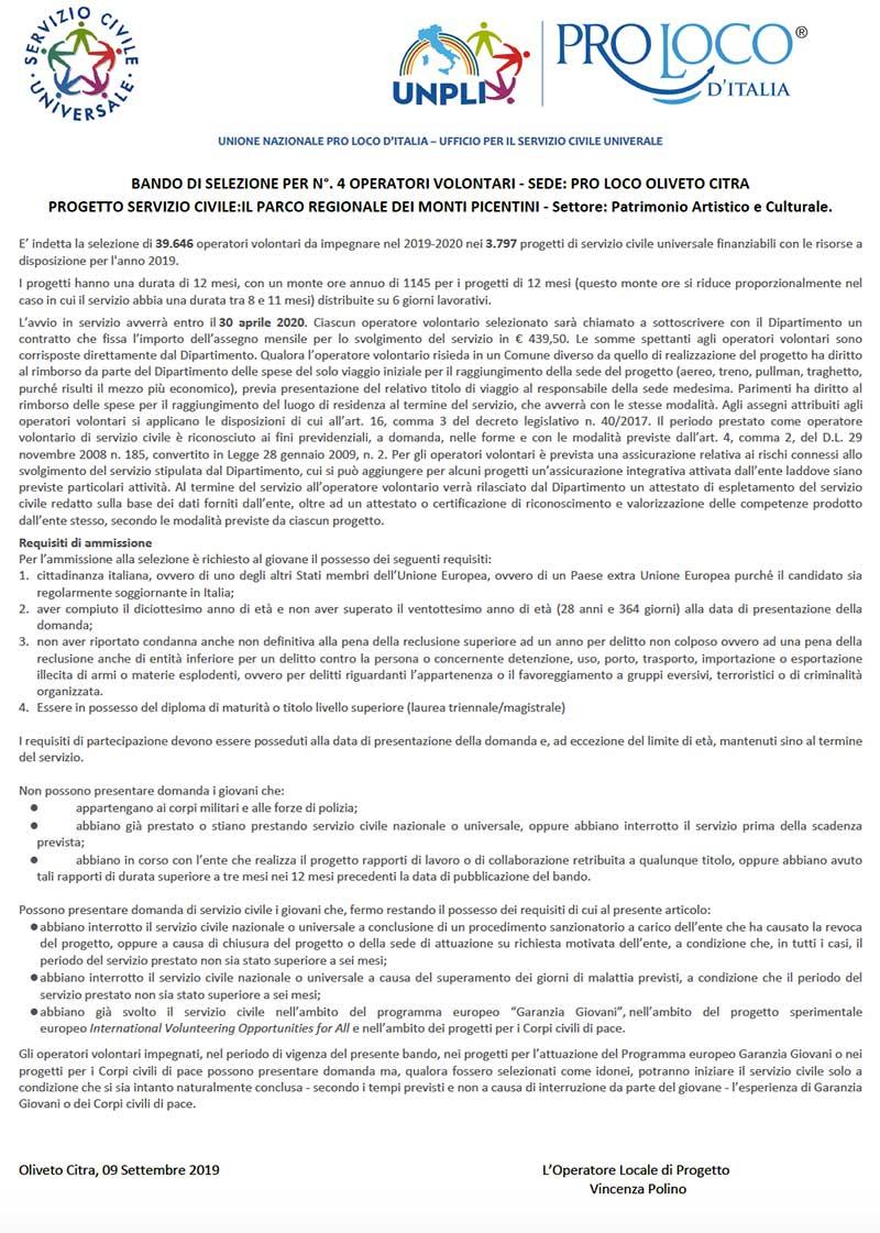 bando servizio civile 2019 oliveto citra